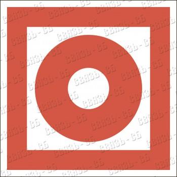 Знак F10 Кнопка включения установок (систем) пожарной автоматики (Пластик фотолюм ) 200х200х2