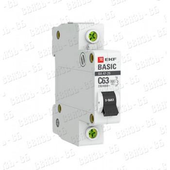 8996 Автоматический выключатель 1P 10А © 4,5кА ВА 47-29 EKF Basic /mcb4729-1-10C/