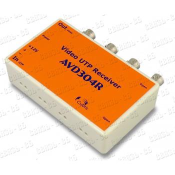 Приемник по витой паре AVD304R (4 канала в 1 корпусе), индикация видеосигнала и питания, грозозащита