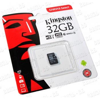 Флеш карта microSDHC 32Gb Class10 Kingston SDCS/32GB Canvas Select + adapter